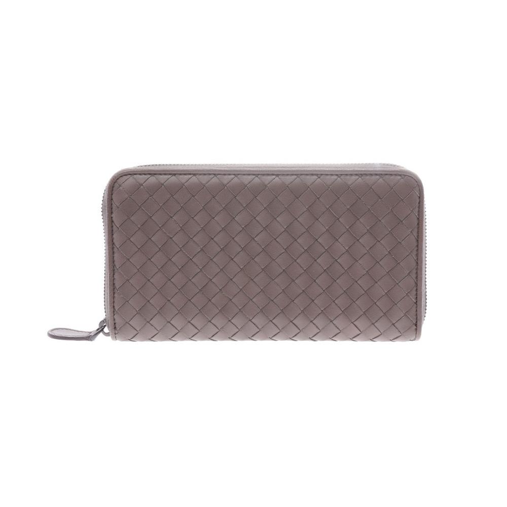 Bottega Veneta round fastener length wallet Intorechute gray men's ladies lambskin AB rank BOTTEGA VENETA second hand silver storage