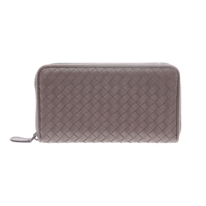 Bottega Veneta round fastener length wallet Intorechute gray men's ladies lambskin AB rank BOTTEGA VENETA second hand silver storage