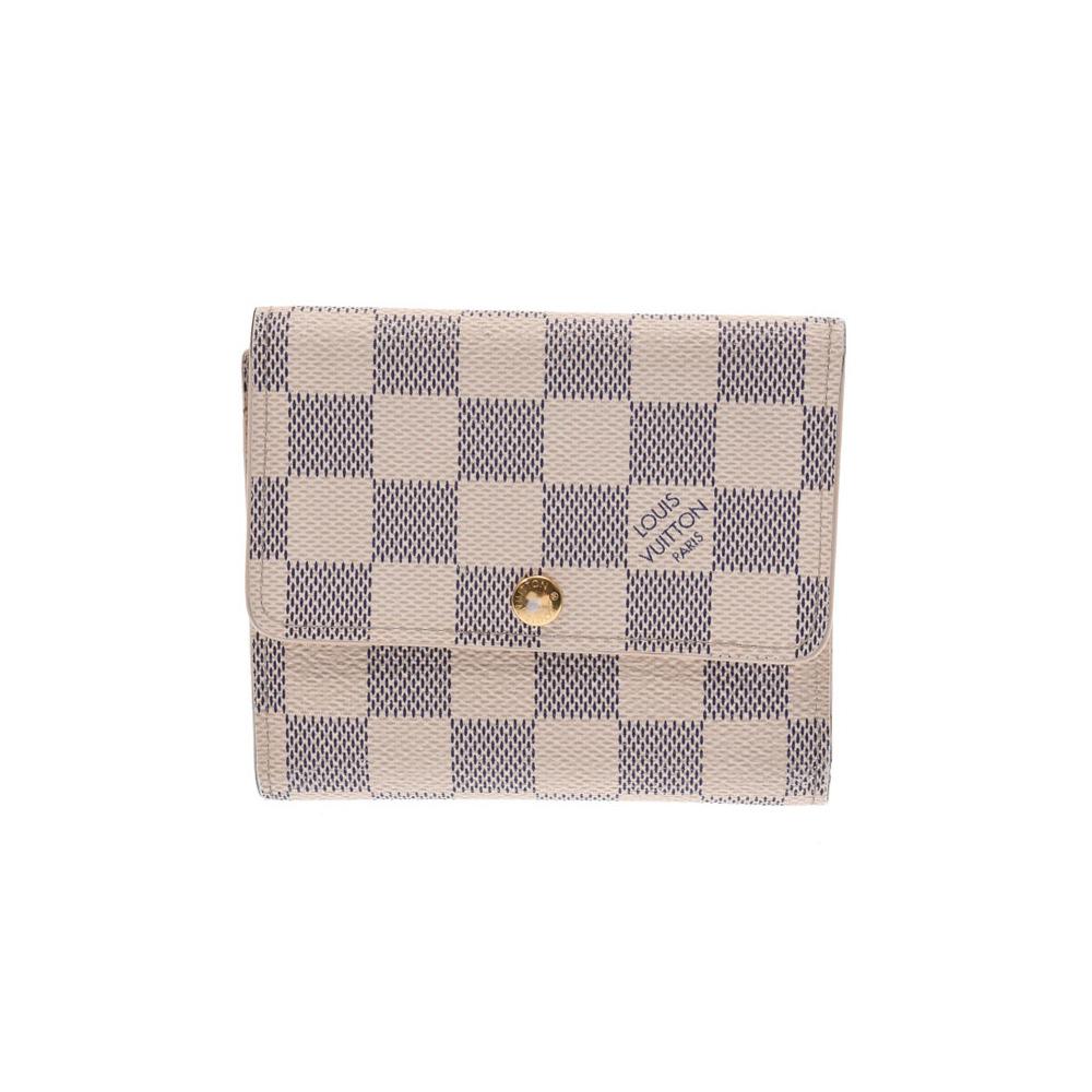Louis Vuitton Azur Portofoille Anais White N63241 Men's Women's Genuine Leather Wallet B Rank LOUIS VUITTON Used Ginza