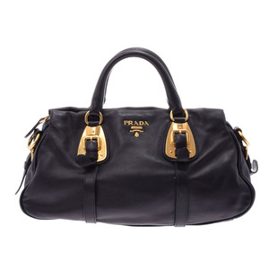 Prada 2 Way handbag Black BN 1903 Ladies Leather AB Rank PRADA Galler strap attached Used silver storage