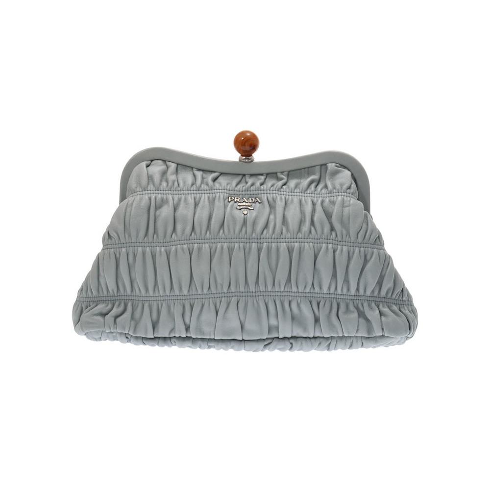 0d436ff070 Prada pouch light blue series BP0482 Ladies' calf clutch bag A rank PRADA  GALA second