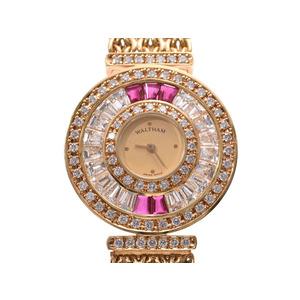 ウォルサム レディースウォッチ シャンパン文字盤 ダイヤ/ルビーベゼル 93570.65 YG 47.0g クオーツ 腕時計 Aランク 美品 WALTHAM 中古 銀蔵