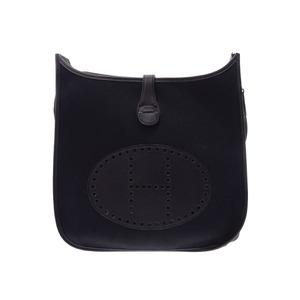 Hermes Evelyn GM Black □ J Engraved Men's Women's Trout / Calf Shoulder Bag A Rank HERMES Used Ginza