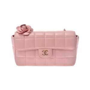 Chanel Chocolate Bar Chain Shoulder Bag Camellia Pink G Hardware Women's Lambskin AB Rank CHANEL Box Gala Used Ginza