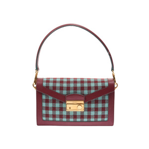 Prada 2 Way Bag Mint / Bordeaux Series BN 0924 Ladies' Jacquard Safiano A Rank PRADA Galler Used Ginza