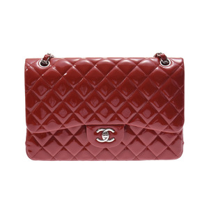 Chanel Deca Matrasse Chain Shoulder Bag Red SV Hardware Women's Enamel A Rank Beautiful Item CHANEL Box Gala Used Ginza