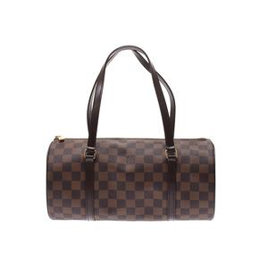 Louis Vuitton Damier Papillon GM Brown N 51303 Ladies' real leather handbag A rank beautiful goods LOUIS VUITTON pouch attaching second hand silver storage