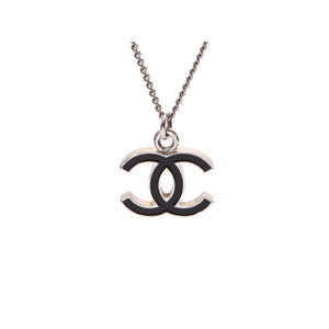 Chanel Necklace Coco Mark Black 06 Model Women's SV Metalware CHANEL Used Ginza