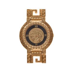 Versace Medusa black letter board GV 8001 Women's GP / leather quartz wristwatch AB rank galleries second hand silver storage