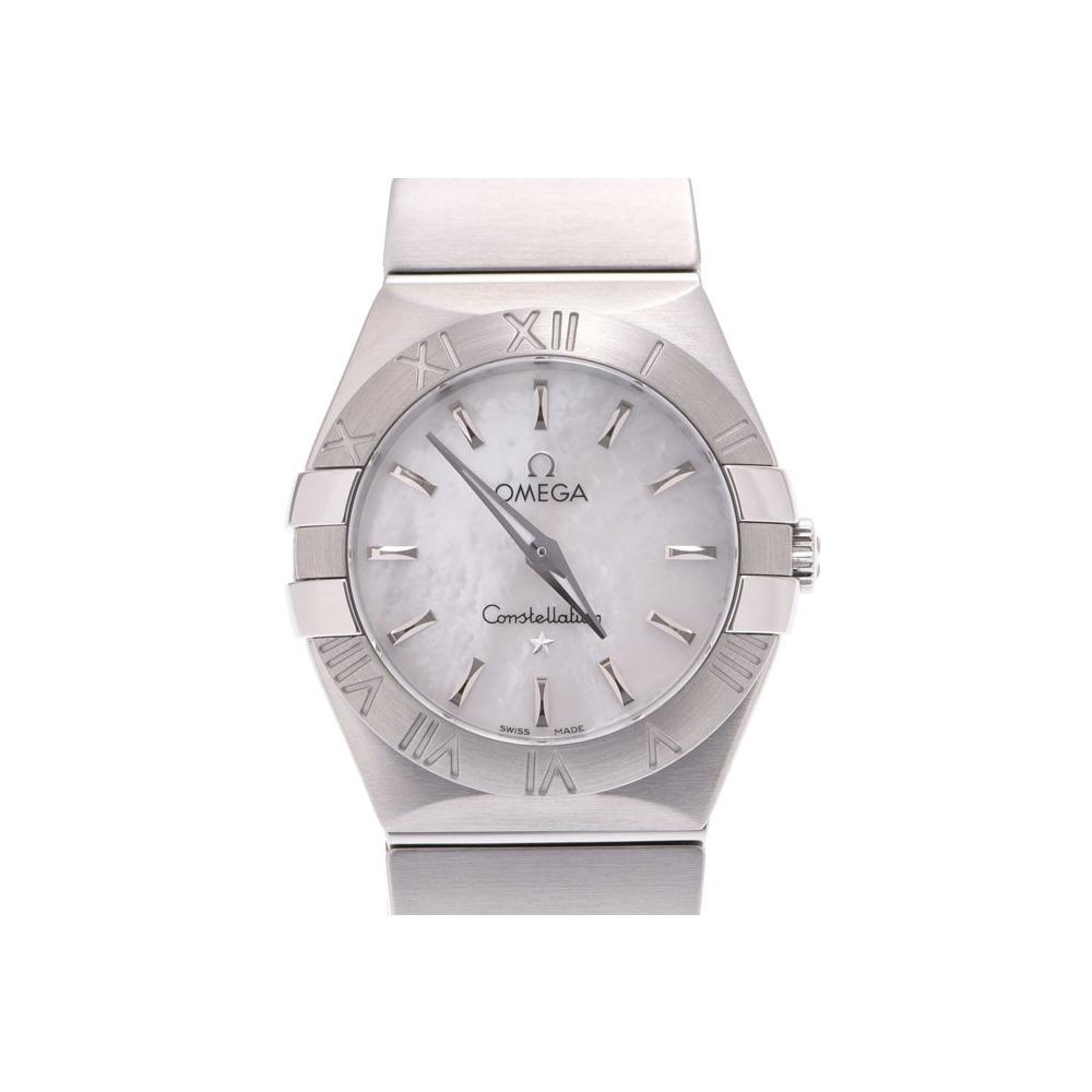 オメガ コンステレーション 123.10.27 シェル文字盤 レディース SS クオーツ 腕時計 Aランク 美品 OMEGA 箱 ギャラ 中古 銀蔵