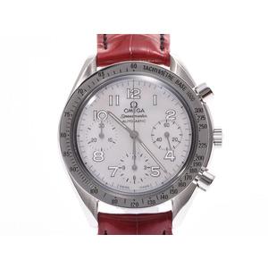 オメガ スピードマスター シェル文字盤 3802.70.56 メンズ レディース SS/革 自動巻 腕時計 Aランク 美品 OMEGA ギャラ 中古 銀蔵
