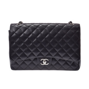 Chanel Deca Matrasse Chain Shoulder Bag Black SV Hardware Women's Caviar Skin AB Rank CHANEL Galler Used Ginza
