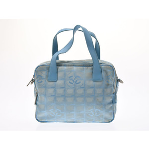 Chanel New Travel Line 2 Way Handbag Light Blue Ladies Nylon B Rank CHANEL Galler Strap Used Ginza