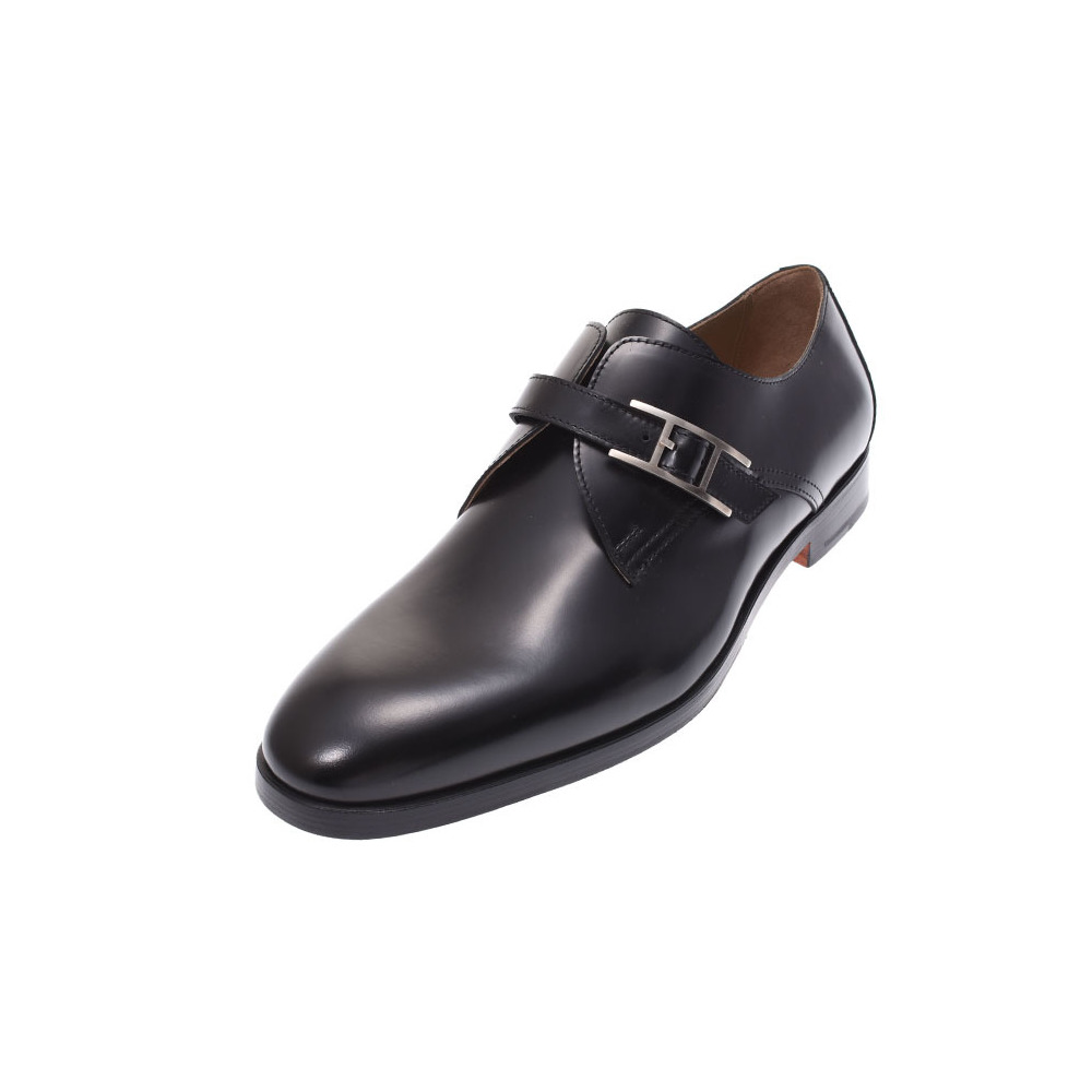 Hermes Norris Black SV metal fittings size 40 1/2 Mens Leather Shoes New Item HERMES Ginza