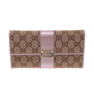 Gucci zipper long wallet beige / pink metallic ladies GG canvas leather A rank GUCCI box second hand grate