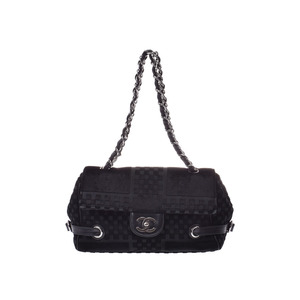 Chanel chain shoulder bag Black SV metal fittings ladies velor AB rank CHANEL second hand silver storage