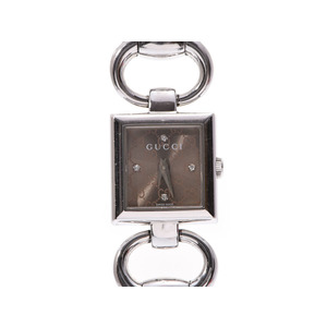 Gucci Tornavoni 4P diamond brown dial plate 120 ladies' SS quartz wristwatch B rank GUCCI box gallery used silver storage