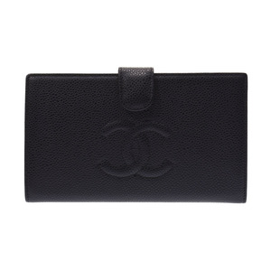 Chanel Wallet Black Ladies Caviar Skin New Beauty Item CHANEL Box Gala Used Ginza