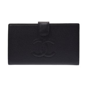 シャネル(Chanel) シャネル がま口財布 黒 レディース キャビアスキン 新同 美品 CHANEL 箱 ギャラ 中古 銀蔵