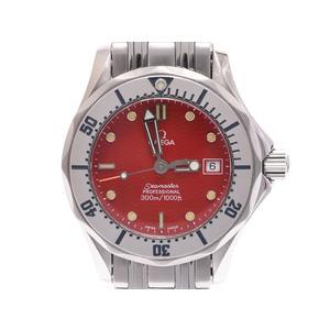 オメガ シーマスター300 赤文字盤 2582.61 丸井限定 レディース SS クオーツ 腕時計 Aランク 美品 OMEGA 中古 銀蔵