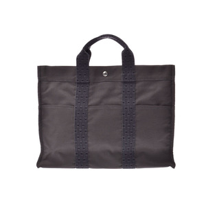 Hermes ale line MM old gray women's men's canvas tote bag B rank HERMES second hand silver storage