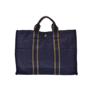 HERMES Forte tote MM Navy Mens Women's Canvas Tote B Rank Used Ginza