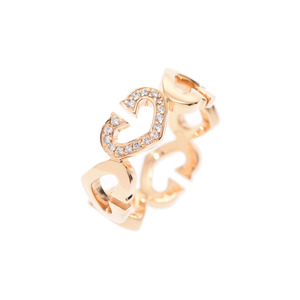 Cartier C Heart ring Ladies' Diamond YG # 51 6.2 g A Rank 美 品 CARTIER Used silver storage