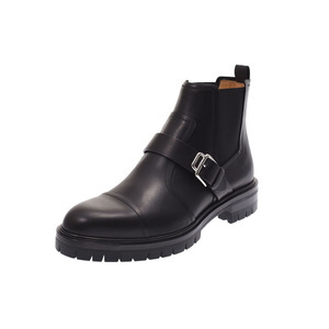 Hermes Men's Short Boots Black SV Metal Size 42 1/2 Mens Leather Rubber Sole New Item HERMES Ginza