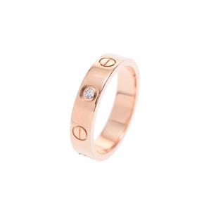 Cartier Mini Love Ring # 48 Ladies 1 Piece Diamond PG 4.1 g A Rank 美 品 CARTIER Used silver storage