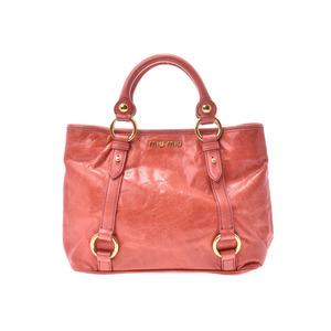 Miu Miu Miu 2 WAY Handbag Orange Women's Calf B Rank MIUMIU with strap Used silver storage