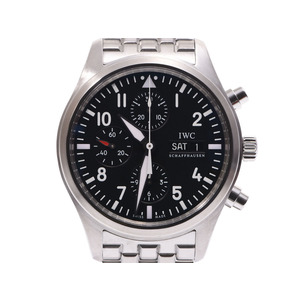 IWC pilot watch Chrono black character board IW 371704 Men's SS automatic winding wristwatch A rank 美 品 Galler second hand silver storage