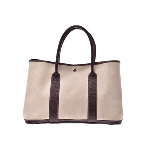 Hermes Garden Party PM Maron Old Ladies Canvas Bag AB Rank HERMES Used Ginza