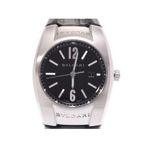 Bvlgari ergon EG 30S black letter board ladies' SS / leather quartz wristwatch AB rank BVLGARI box secondhand book silver storage