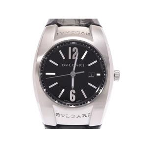 ブルガリ エルゴン EG30S 黒文字盤 レディース SS/革 クオーツ 腕時計 ABランク BVLGARI 箱 中古 銀蔵