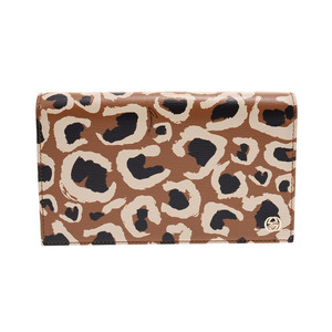 Gucci interlocking chain wallet beige type leopard pattern ladies' calf new and same beauty goods GUCCI second hand silver storage