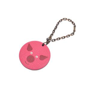 Hermes key holder porcupine pink ladies' men's leather bag charm AB rank HERMES second hand silver storage