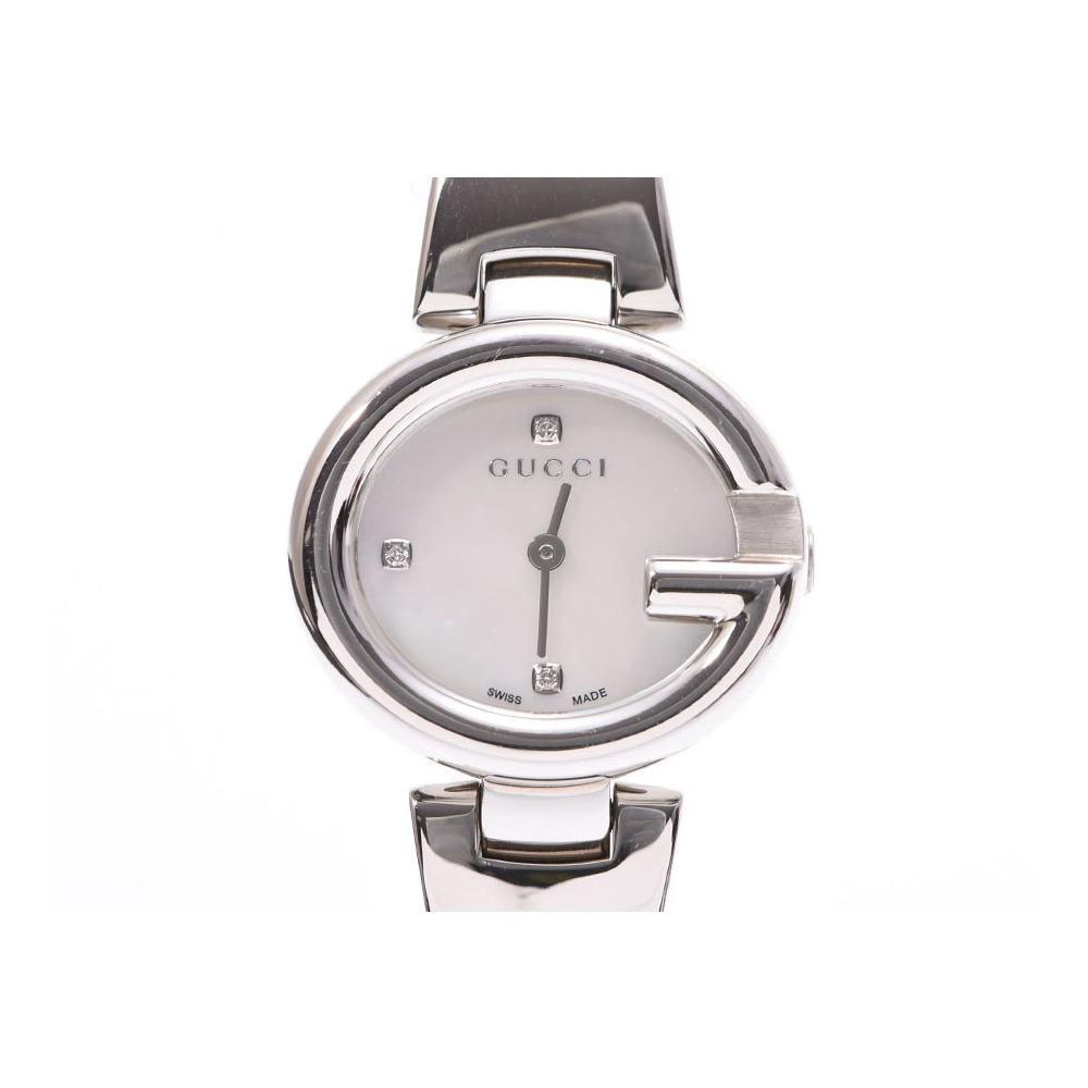 7b229d32a74 Gucci 134.5 shell dial 3P diamonds women s SS quartz wristwatch GUCCI  secondhand silver store