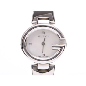 Gucci 134.5 shell dial 3P diamonds women's SS quartz wristwatch GUCCI secondhand silver store