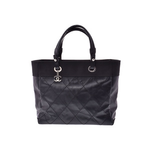 Chanel Paris Biarritz MM Black SV metal fittings Women's calf / canvas tote bag A rank beautiful goods CHANEL second hand silver storage