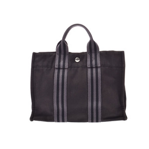 Hermes Fault To PM Black Ladies Men's Canvas Tote B Rank HERMES Used Ginza
