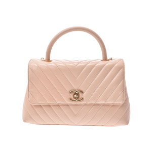 Chanel V Stitch Top Handle Bag Beige Type G Metallic Women's Calf 2 Way A Rank beautiful item CHANEL Box Gala Used Ginza
