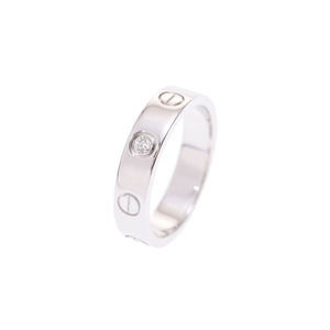 Cartier mini love ring WG 1P diamond # 47 lady's 4.1 g A rank 美 品 CARTIER box secondhand silver store