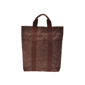 Hermes ale line Cabas caramel men's ladies canvas tote bag A rank HERMES second hand silver storage