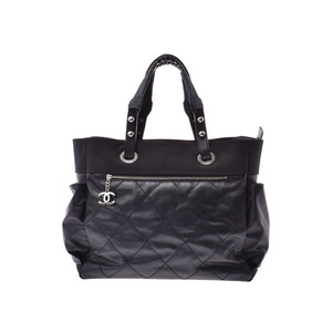 Chanel Paris Biarritz Tote Bag GM Black SV Hardware Women's Calf Canvas A Rank Beauty Item CHANEL Used Ginza