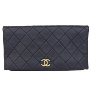 Genuine CHANEL Chanel Coco Mark Calf Leather Matrasse Clutch Bag Black 25 Series