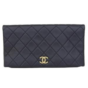 Genuine CHANEL Chanel Coco Mark Calf Leather Matrasse Clutch Bag Black 25 Series
