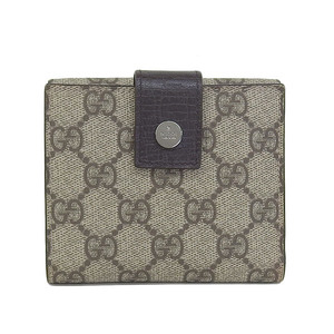 Genuine GUCCI Gucci GG Plus W Hook compact wallet beige Model number: 115039