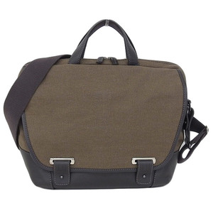 Genuine DUNHILL dunhill canvas 2 WAY shoulder bag brown leather