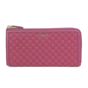 Genuine PRADA Prada Quilting L letter zipper long wallet Pink pattern number: 1M1183 purse leather