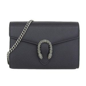 Genuine GUCCI Gucci Duongnisos Leather Chain Wallet Shoulder Bag Black Model: 401231 Purse